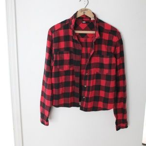 Urban Outfitters BDG buffalo check cropped flannel